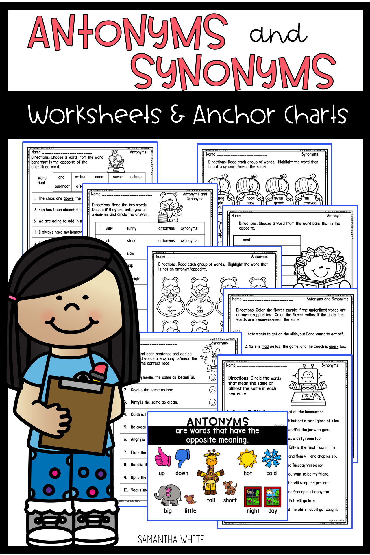 Antonyms And Synonyms Worksheets And Anchor Charts