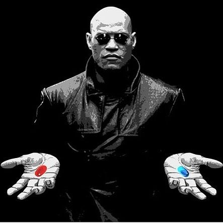 Image result for morpheus and neo pill