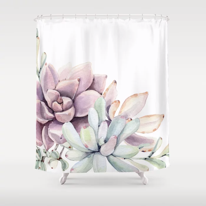 Desert Succulents On White Shower Curtain By Naturemagick