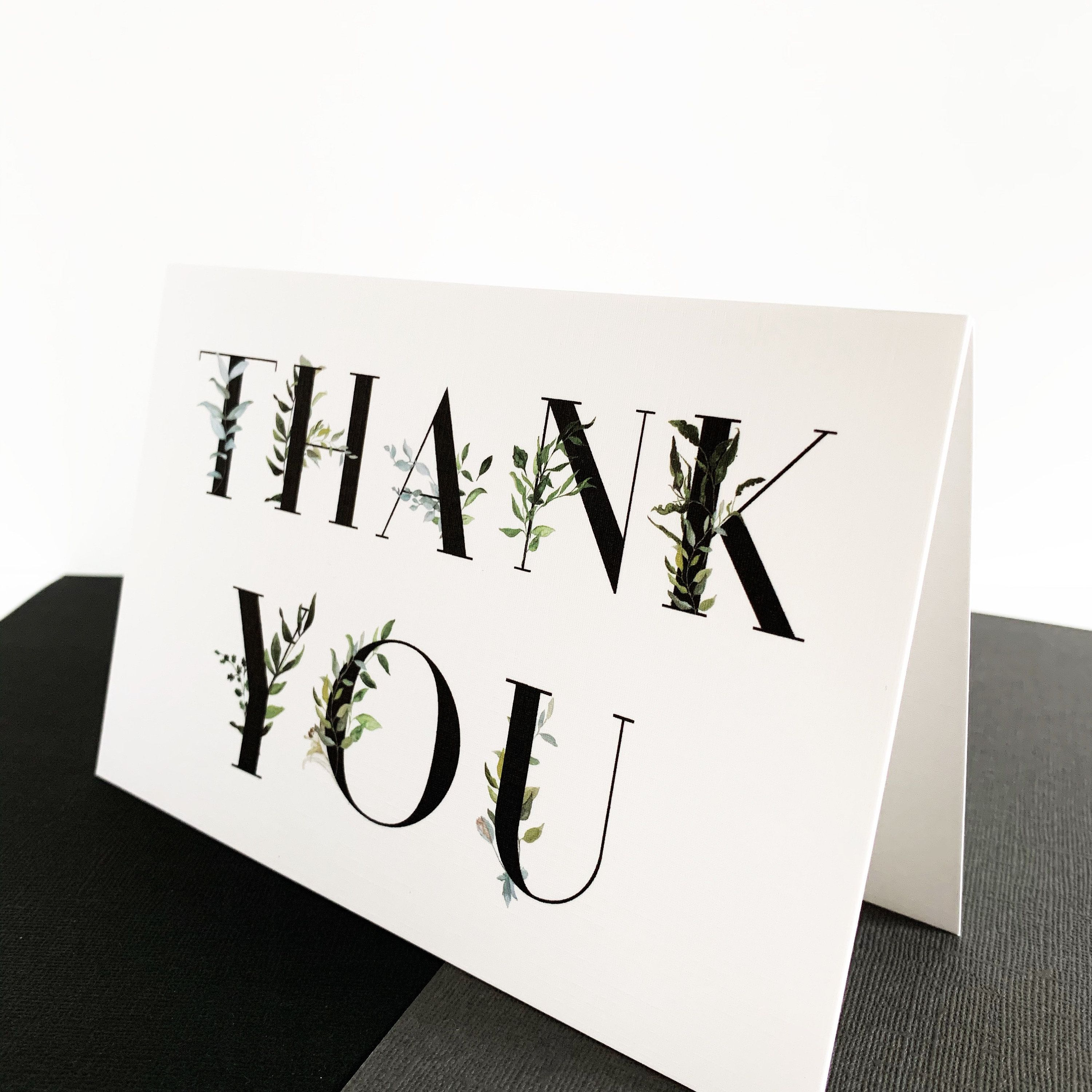 Thank You, Greenery Thank You Card, Handmade Card, Thanks, Gratitude, Birthday, Baby, Wedding, Appreciation Card, Typography #businessthankyoucards