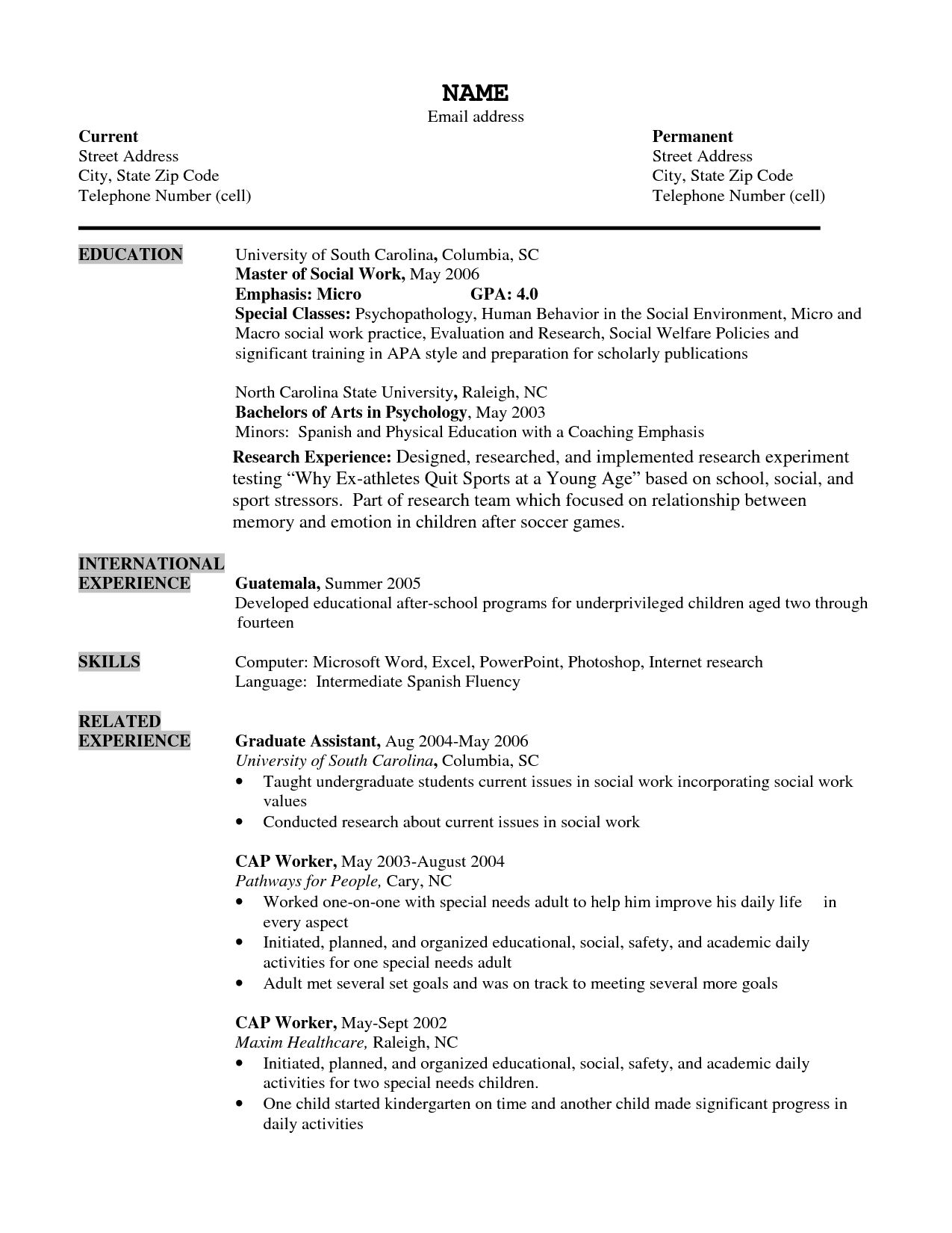 Social Work Resume Sample International Psychologist Sample Resume Travel Account Manager