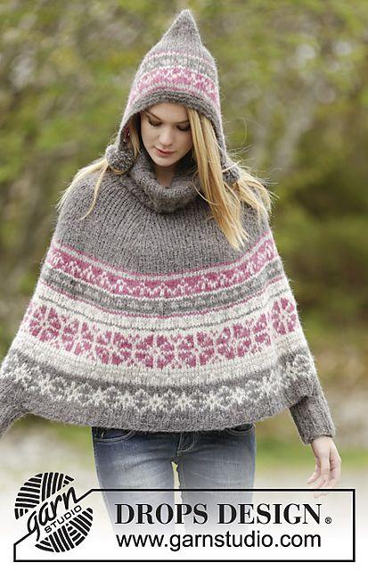 Sweet Winter Poncho By Drops Design Knitting Pinterest Shawl