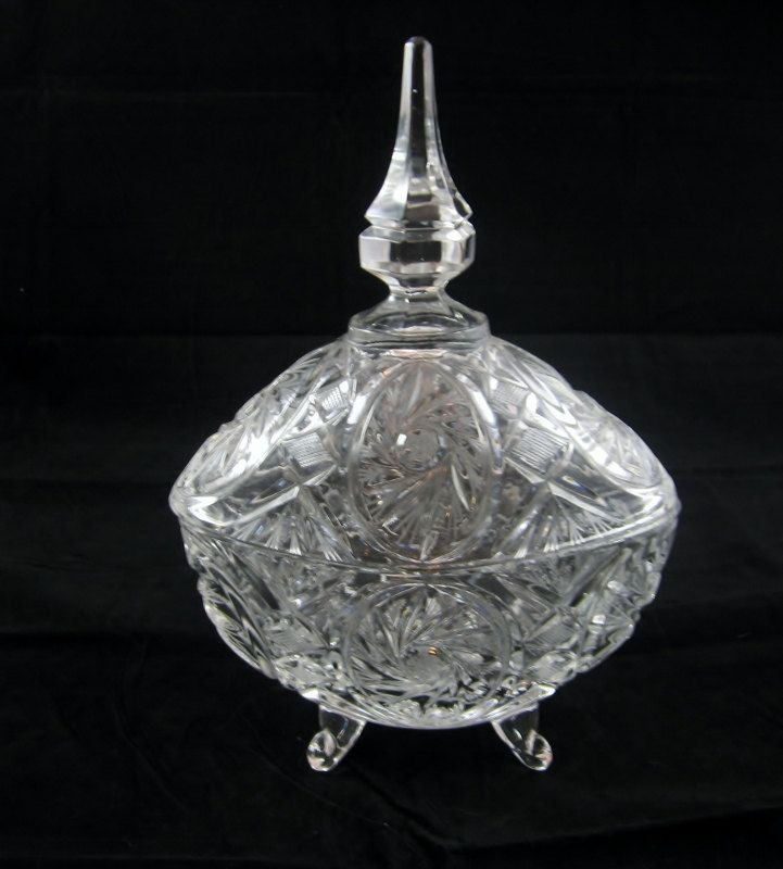 Lead Crystal Drum Candy Dish Pottery & Glass Glass