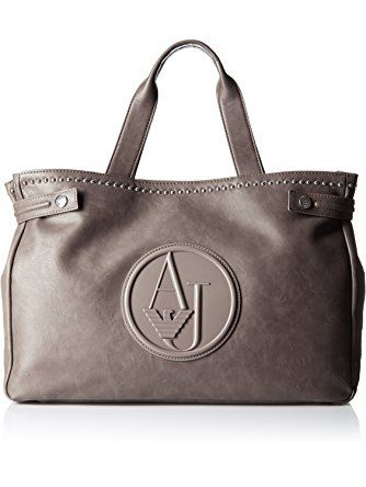 3bea67c0d Armani Jeans Eco Leather Stud East West Tote, Grey ❤ Armani Jeans ...