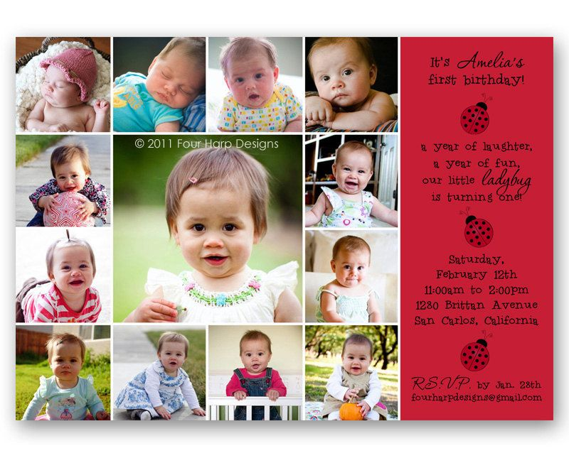 little ladybug photo collage birthday invitation bday invite a printable photo card of your