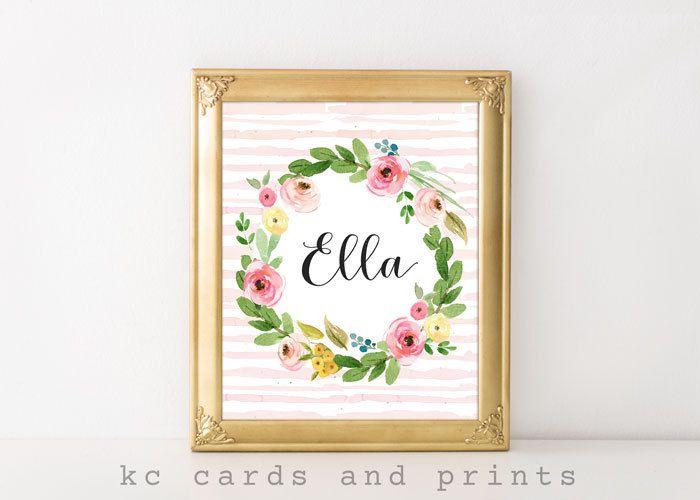 Ella Nursery Print, Nursery Wall Art, E Monogram Printable, Digital