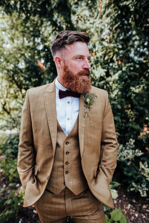 Boho Rustic Barn Wedding With A Bridal Cape Tweed Suit Whimsical Wonderland Weddings In 2020 Groom Attire Rustic Wedding Groomsmen Attire Rustic Groomsmen Attire