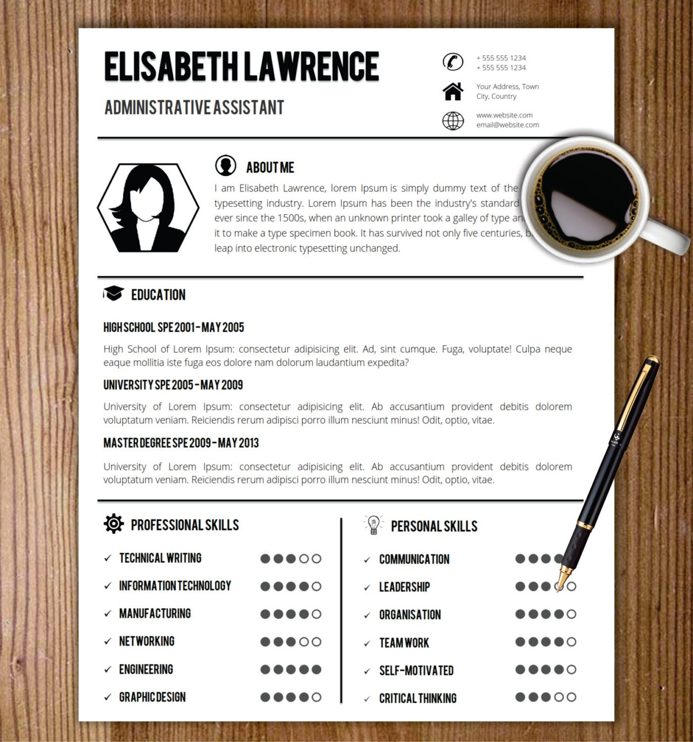 resume template with photo   cover letter    cv template word  us letter  a4  professional
