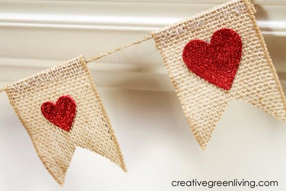 Creative Green Living: How to Make an Easy Burlap & Glitter Valentine Heart Banner