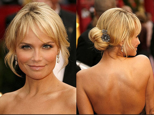 Stupendous Blonde Messy Bun With Bangs For Medium Length Hair Styles Hairstyle Inspiration Daily Dogsangcom
