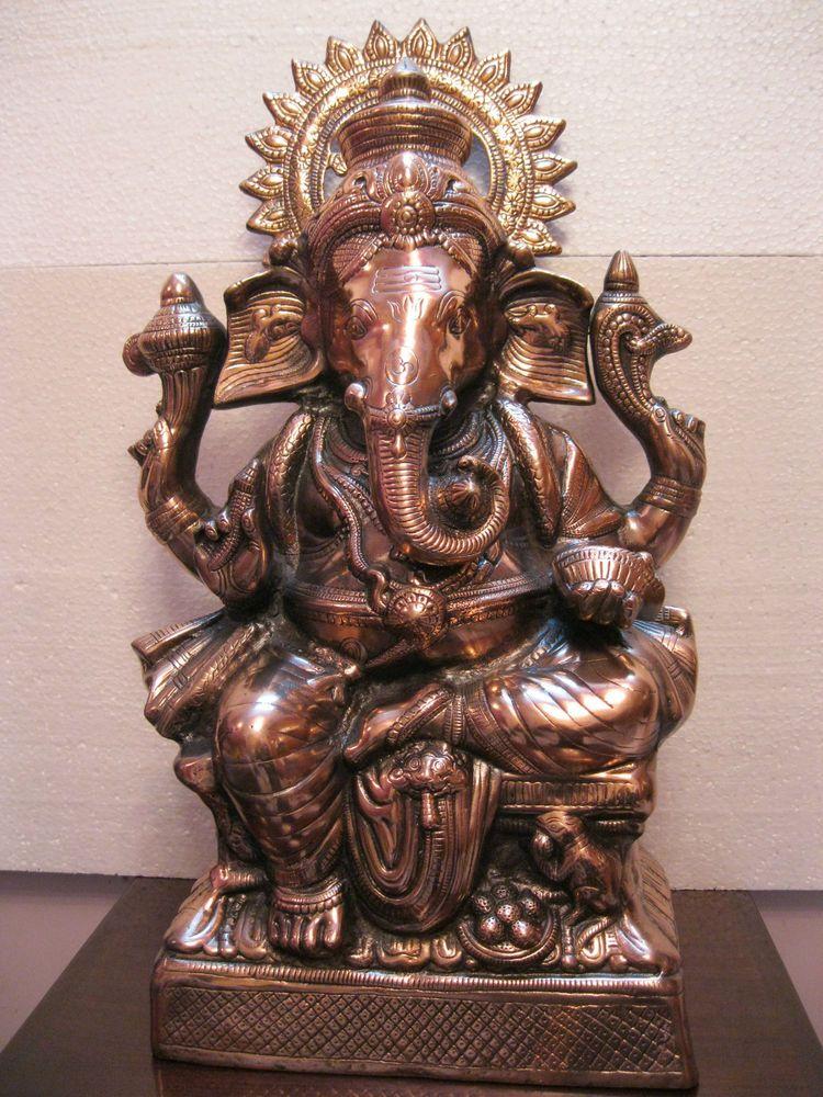 26Super Large Ganesha Ganesh Metal Copper Plated