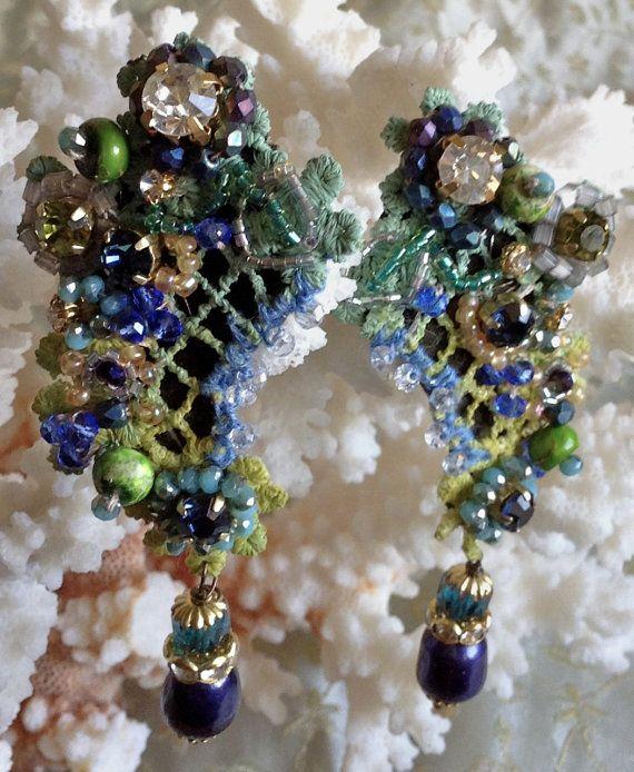 Orecchini di pizzo Vintage lilygrace blu e verde con Rose Montee, calce di mare…