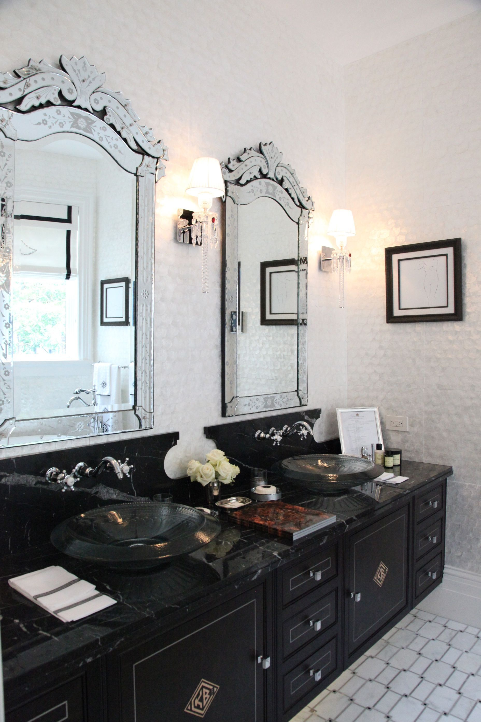 Black and white bathroom with intricate mirrors | Bathrooms & Powder ...