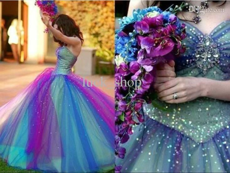 Prepare the make your own prom dress for the upcoming prom? Then you need to see  Tulle Prom Dresses Ball Gown Princess Two-tone Beaded Blue Purple Corset Sweetheart Neck Strapless Floor Length Quinceanera Gowns Dress in luck_shop and other modest prom dress and neon prom dresses on DHgate.com.
