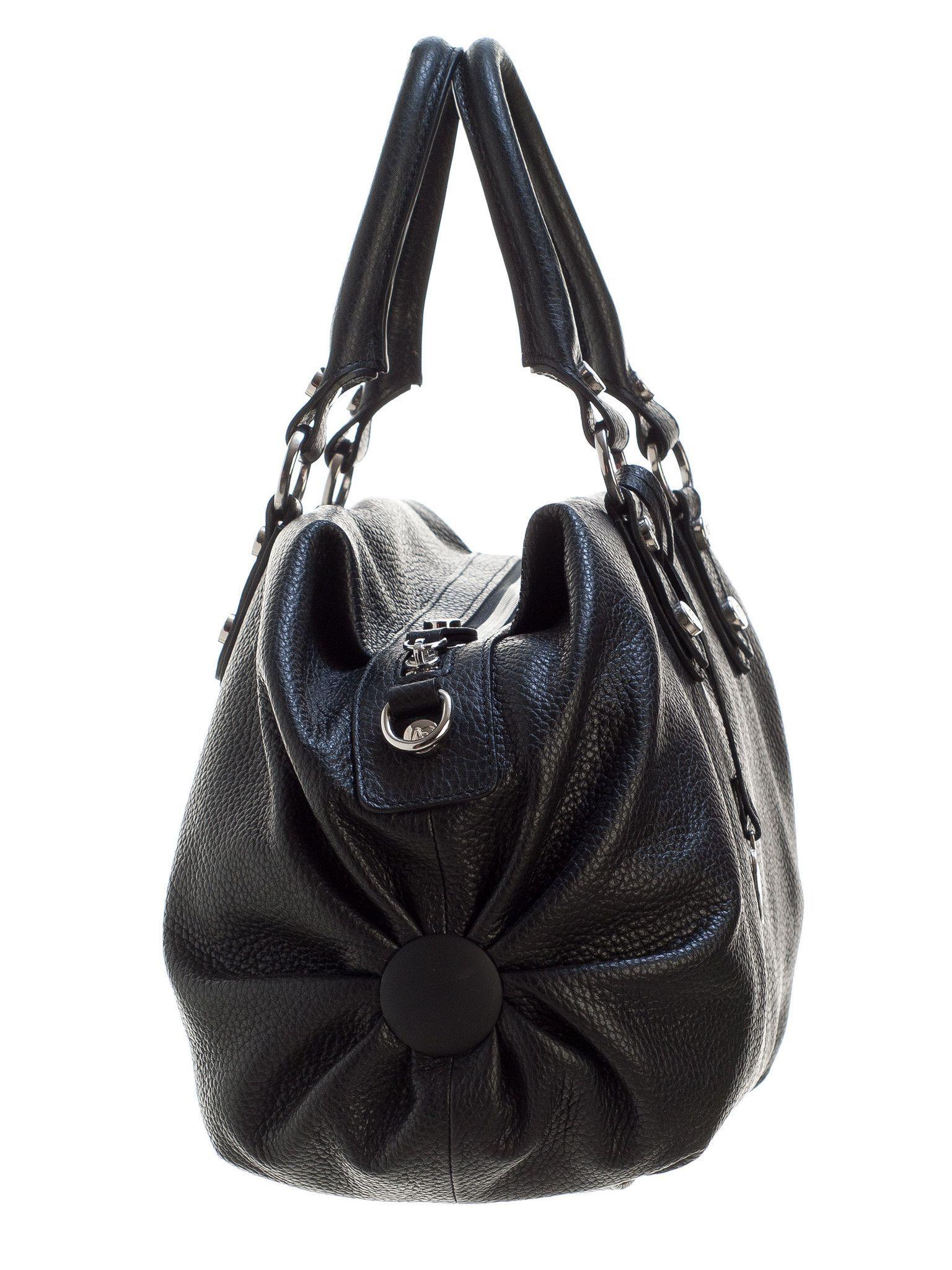 1176a16f8ec6 Condotti-Large Leather Bowler Handbag-Black