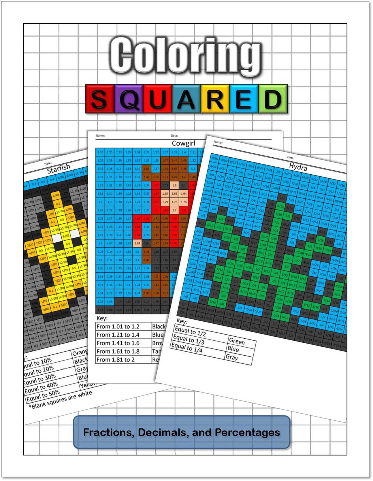 Coloring Squared: Fractions, Decimals, and Percentages $9.95 ...