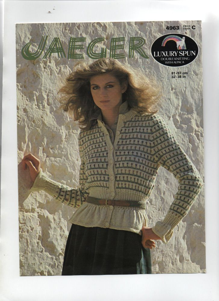 Beautiful JAEGER fancyknit DK cardigan KNITTING PATTERN ...
