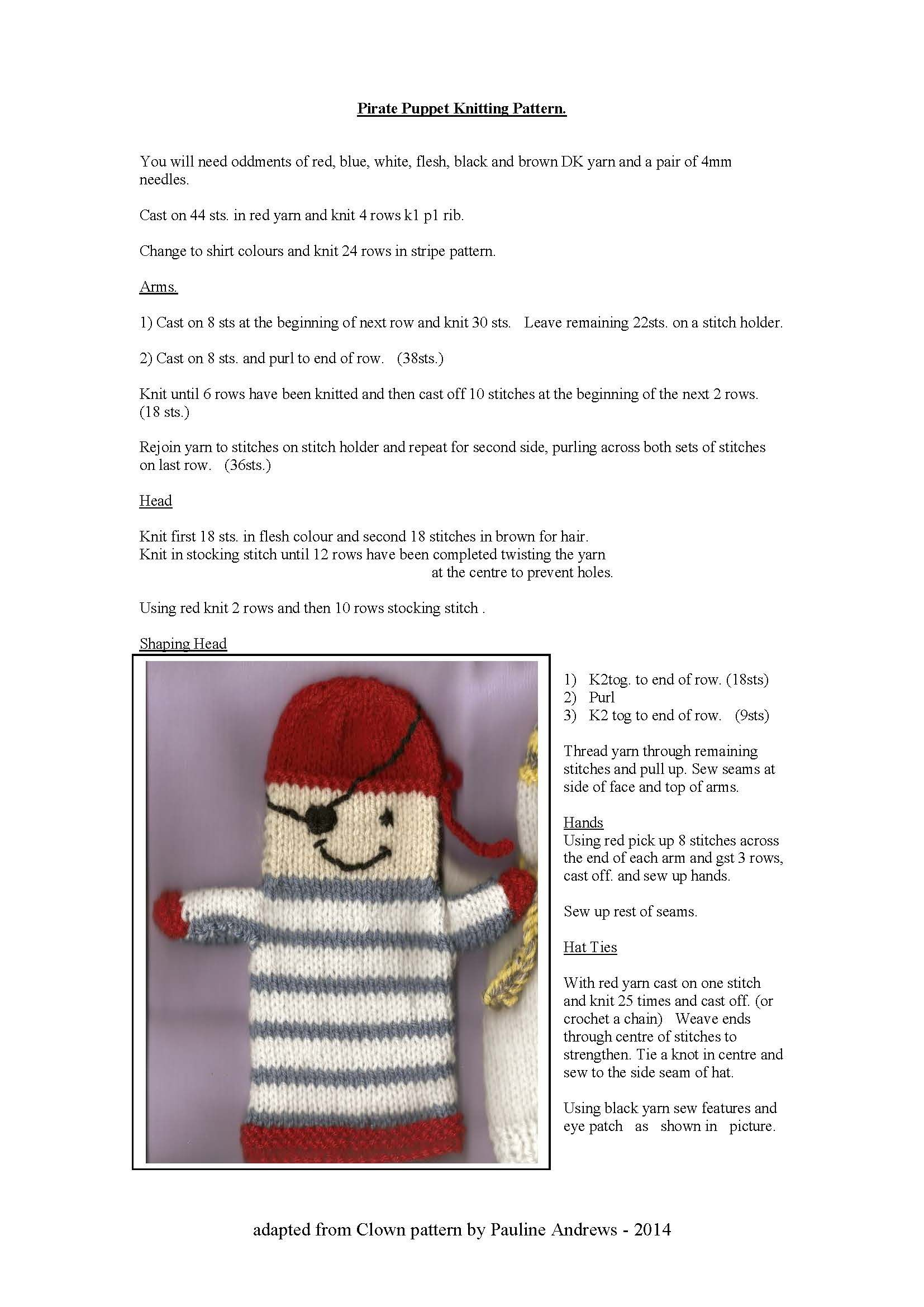 Pattern For Pirate Handpuppet Knitting Pinterest Patterns