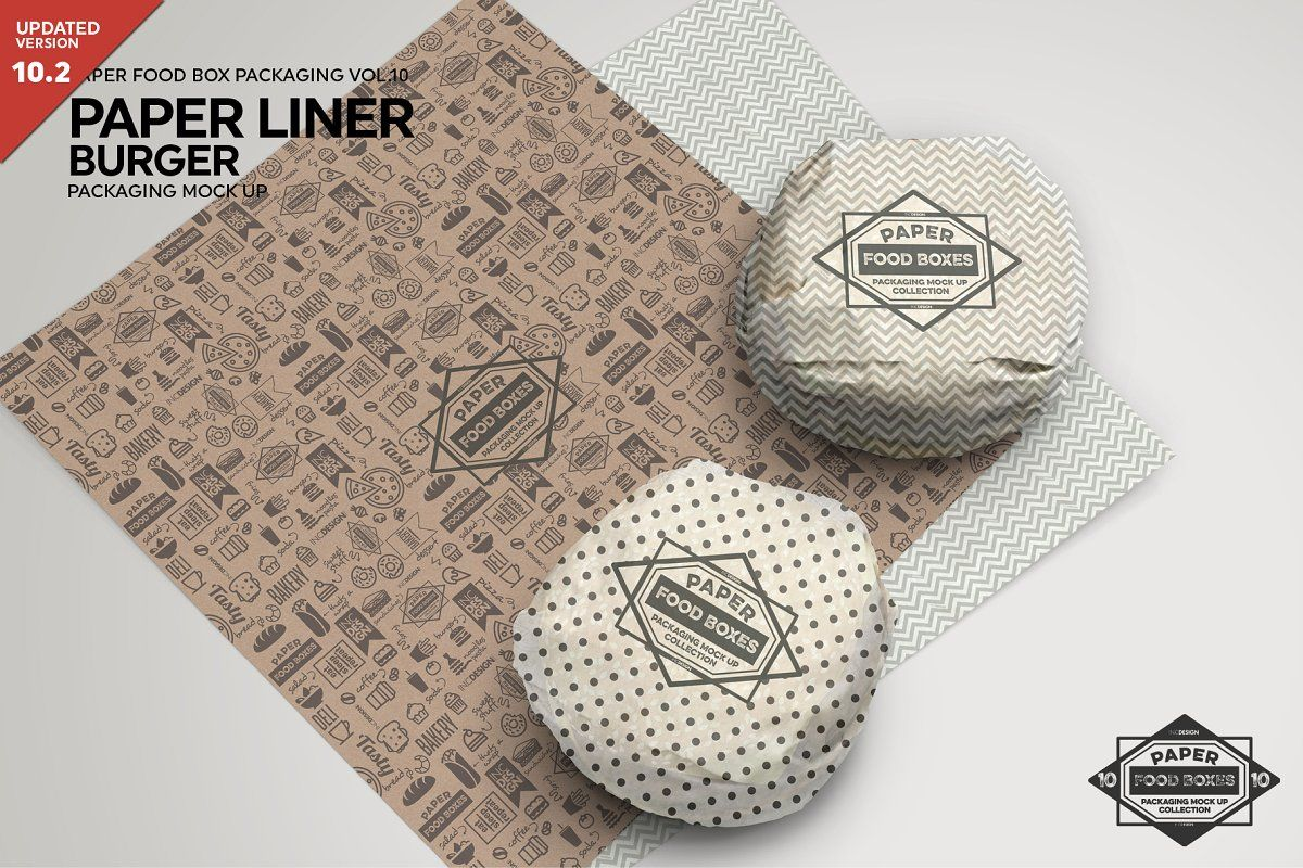 Burger Paper Liner Packaging Mockup Packaging Mockup Food Box Packaging Burger Packaging