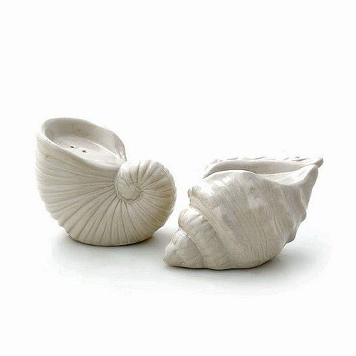 Seashell Salt Pepper Shakers Beach Shells Conch Seaside Stoneware Kitchen New