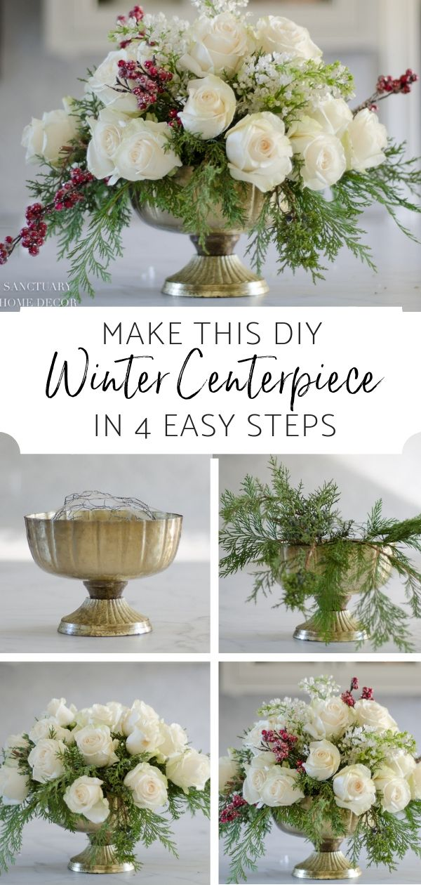 An Easy DIY White Rose and Pine Winter Centerpiece