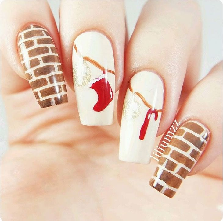 Stockings Over The Fireplace Manicure By Liliumzz Using Our Brick Nail Stencils Christmas Stocking Ornament And Candy Can Decals All Found At