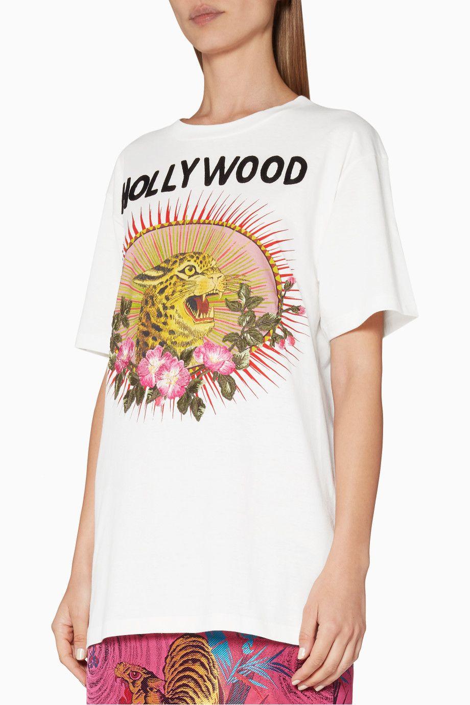 8cee7eb45b64 Shop Luxury Gucci White Tiger   Hollywood Logo Printed T-Shirt ...