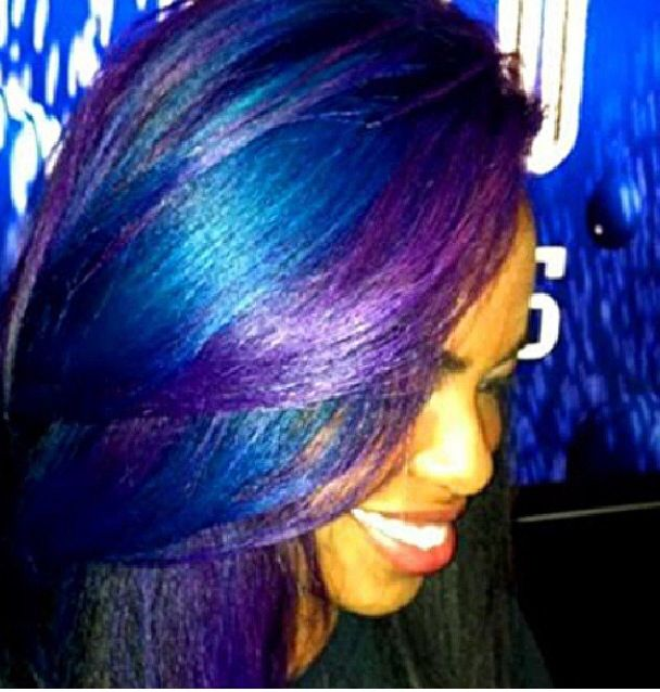 Blue And Purple Highlights Hair And Nails Pinterest Purple