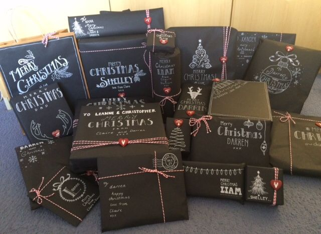 Chalkboard Christmas presents wrapping paper