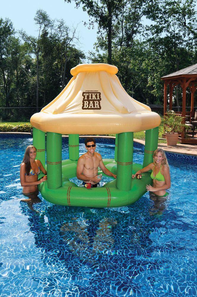 Swimline 90245 Swimming Pool Inflatable Floating Tiki Swim Up Bar W Ice Coolers Home Garden Yard Garden Tiki Bar Inflatable Pool Inflatable Swimming Pool