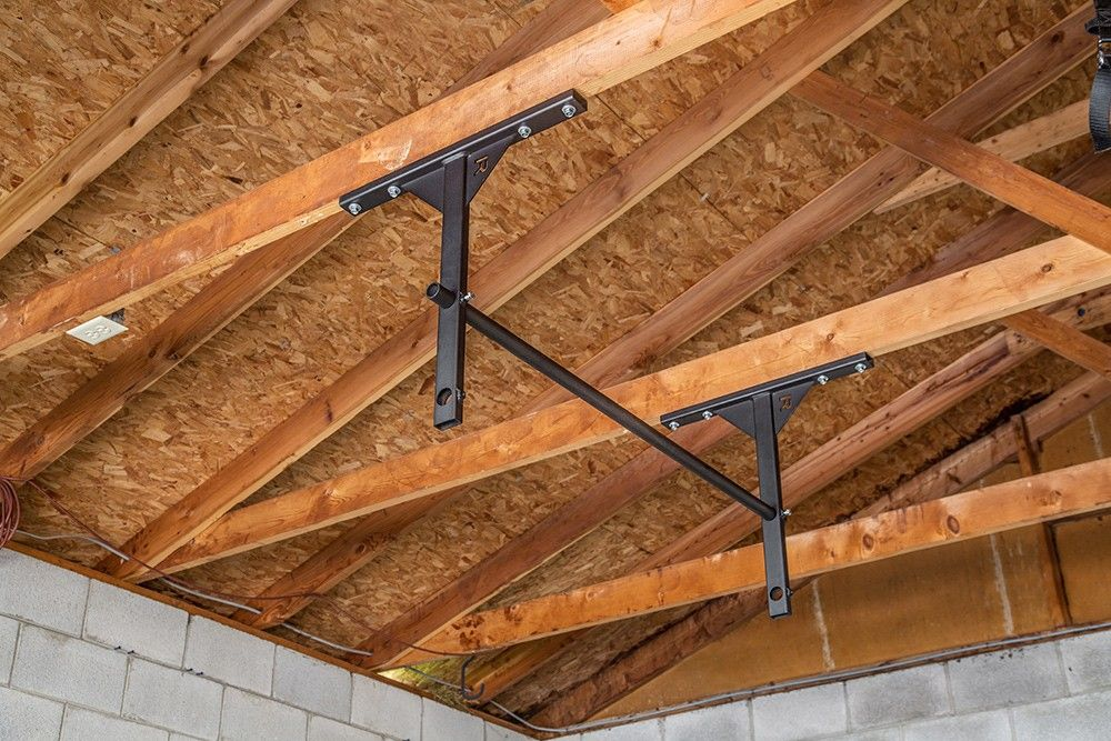 Pull Up Bar Attached To Support Beams