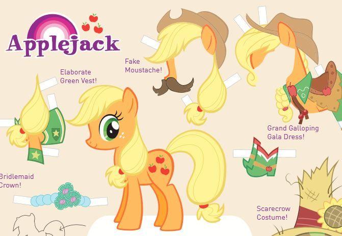 Applejack My Little Pony Friendship Is Magic Cutout Med Billeder Papirdukker Postkort My Little Pony