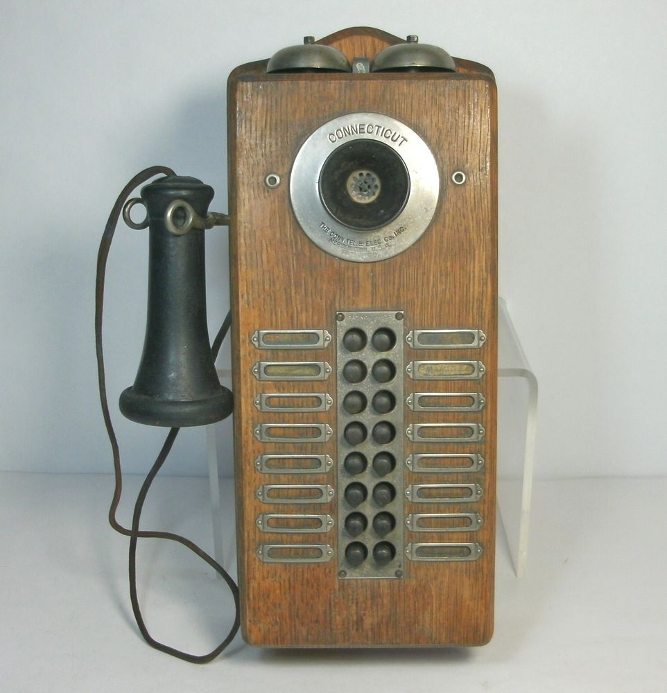 Dl Vtg Oak Push On Intercom Connecticut Telephone Electric Co Wall Mount
