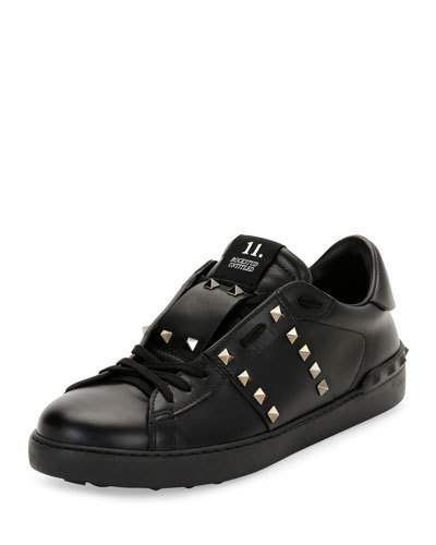 VALENTINO ROCKSTUD UNTITLED MEN S LEATHER LOW-TOP SNEAKER, BLACK.  valentino   shoes   fbfb781bd55