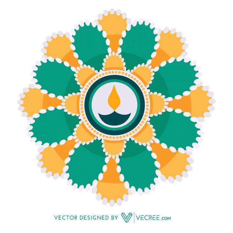 Beautiful Diwali Design Free Vector Greeting Card Template Diwali Greeting Cards Diwali Design