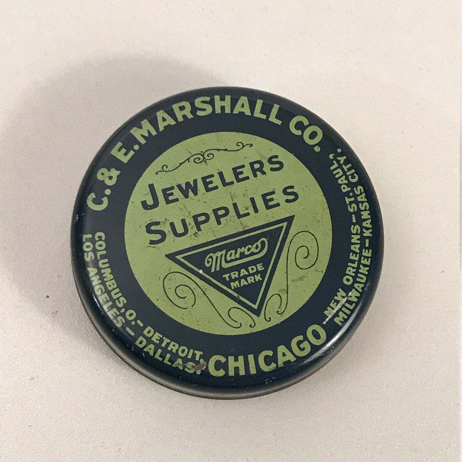 Old Jewelers Supplies Small Round Retail Tin C E Marshall Etsy Etsy Supplies Chicago Il
