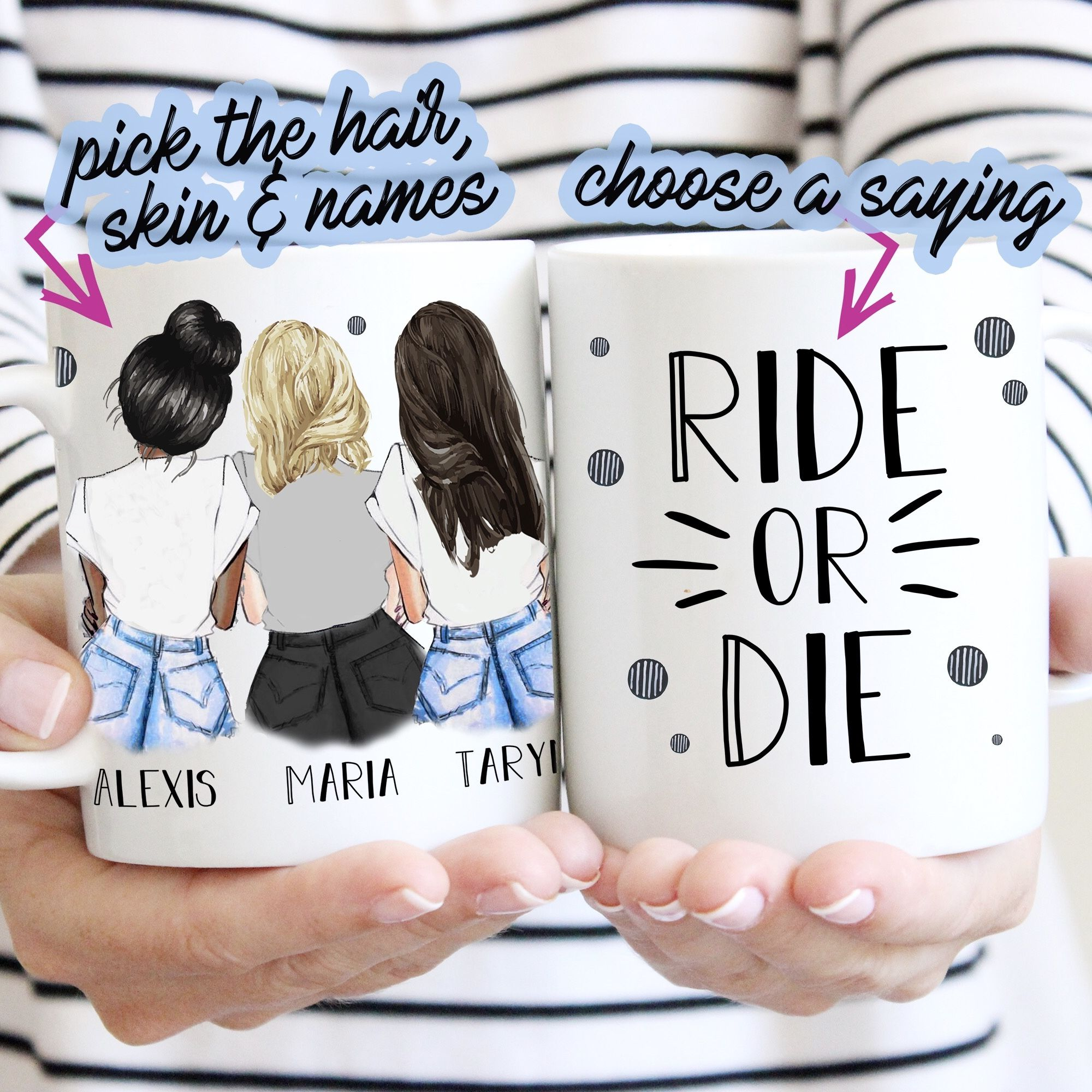 Best Friends Forever Trio - Casual - Personalize the Girls - Gift for Besties or Sisters #giftsforsister