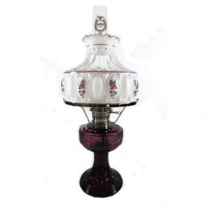 Aladdin Lincoln Drape Electric Lamp Amethyst Glass Nickel Plated Genuine Aladdin Brand Electrified Lighting Replacement In Antique Lamps Electric Lamp Lamp