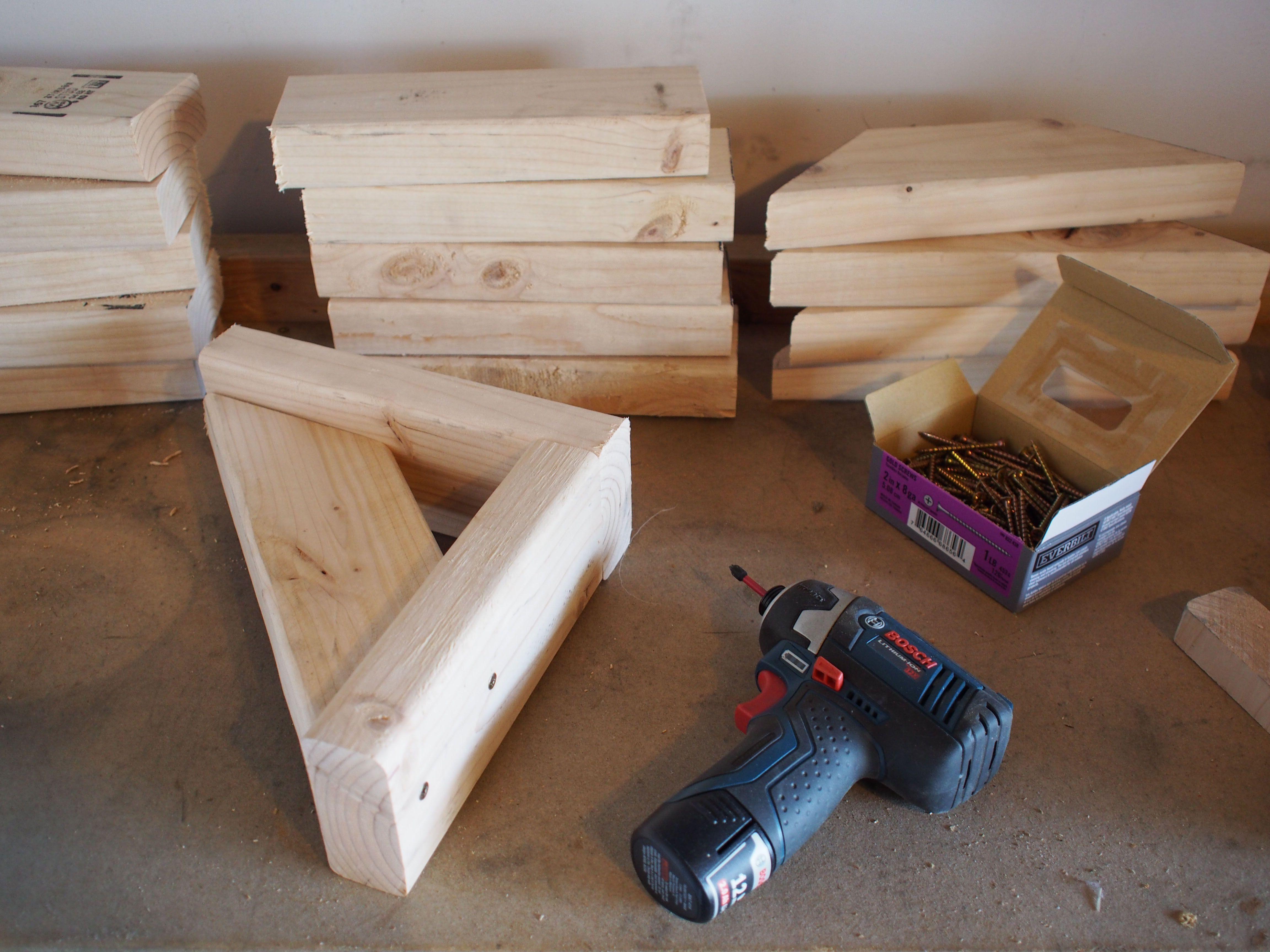 Diy Wood Shelf Brackets We Assembled All Six Brackets Using