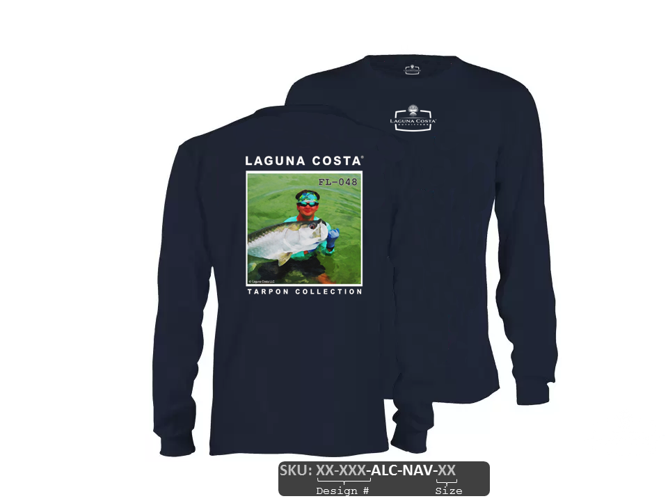 "FL-048 ""Forgotten Coast Tarpon"" Tagless Long Sleeve Cotton T-Shirt - NAVY"