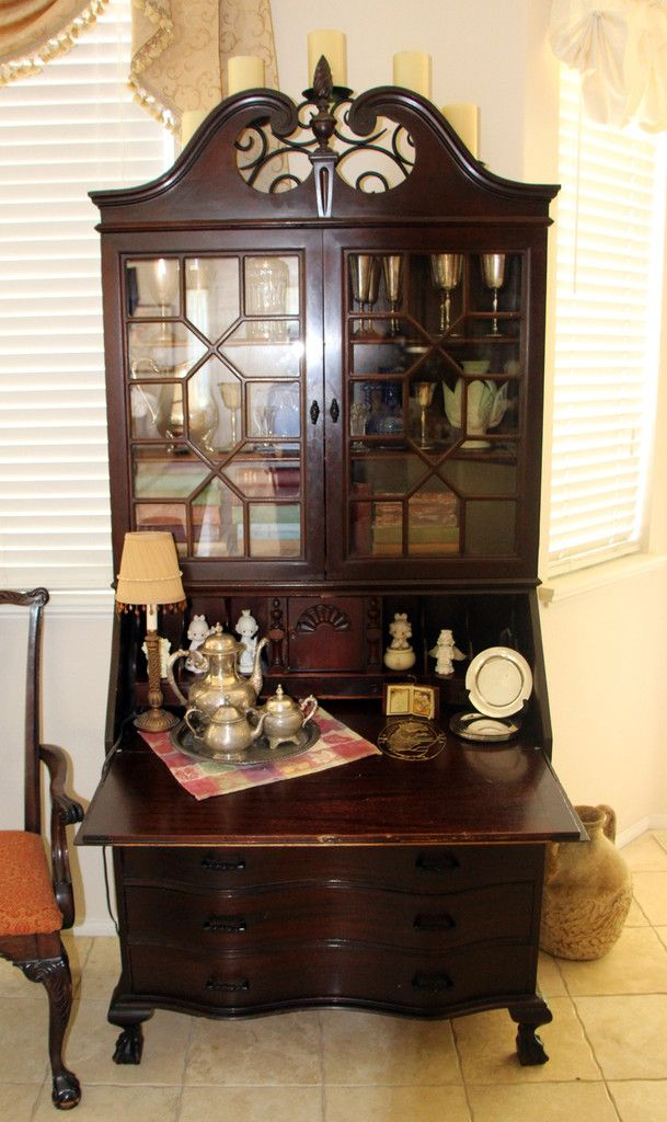 Antique Secretary Cabinet with Drop Down Desk - Antique Secretary Cabinet With Drop Down Desk Green Butterfly