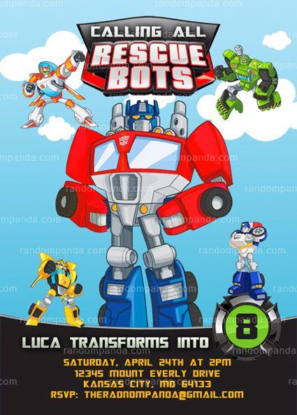 Rescue Bots Invitation Transformers Party Rescue Bots Birthday