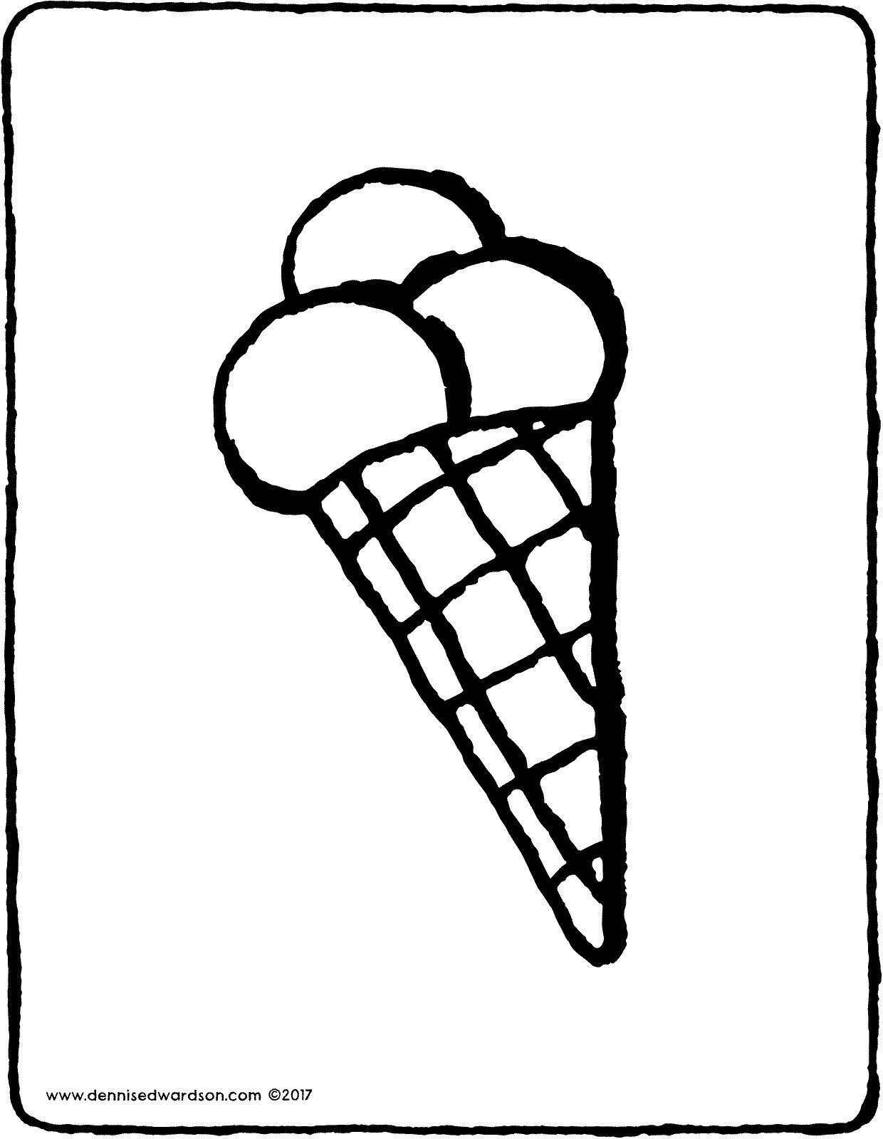 Ice Cream Cone Mmm A Cone With Three Flavours Of Ice Cream Colour This Picture With Yummy Colours Eten Teken Kleurplaten Eten