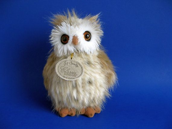 Vintage Small Owl Stuffed Animal By Classic Aurora 1990s Toys Small