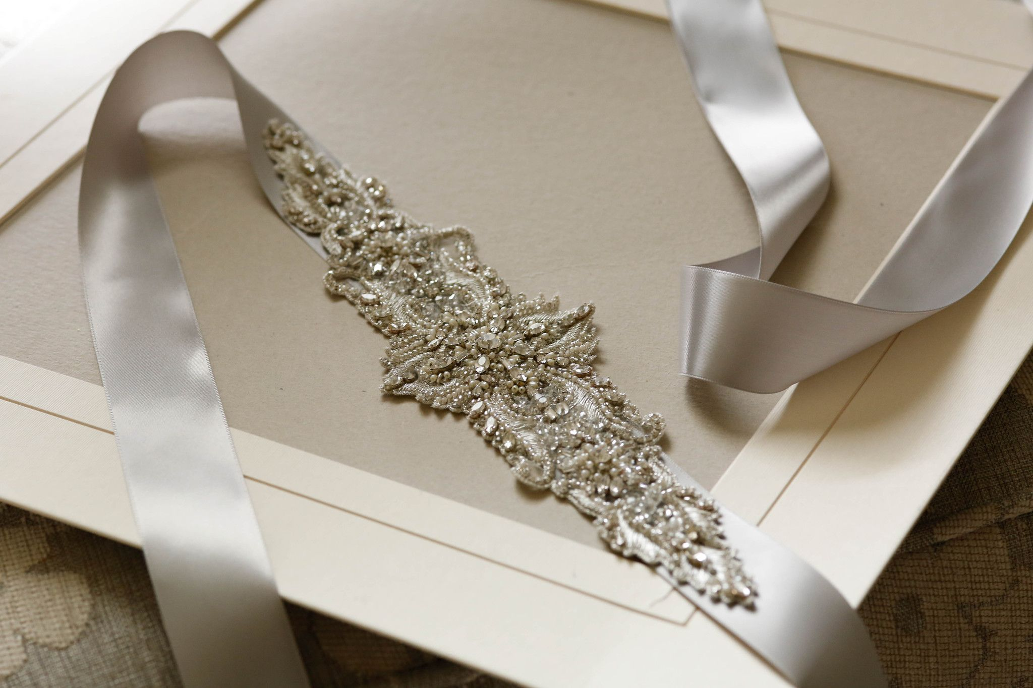 Bridal Sash Art Deco Style S53 Inspired Embellished In Silver Tone