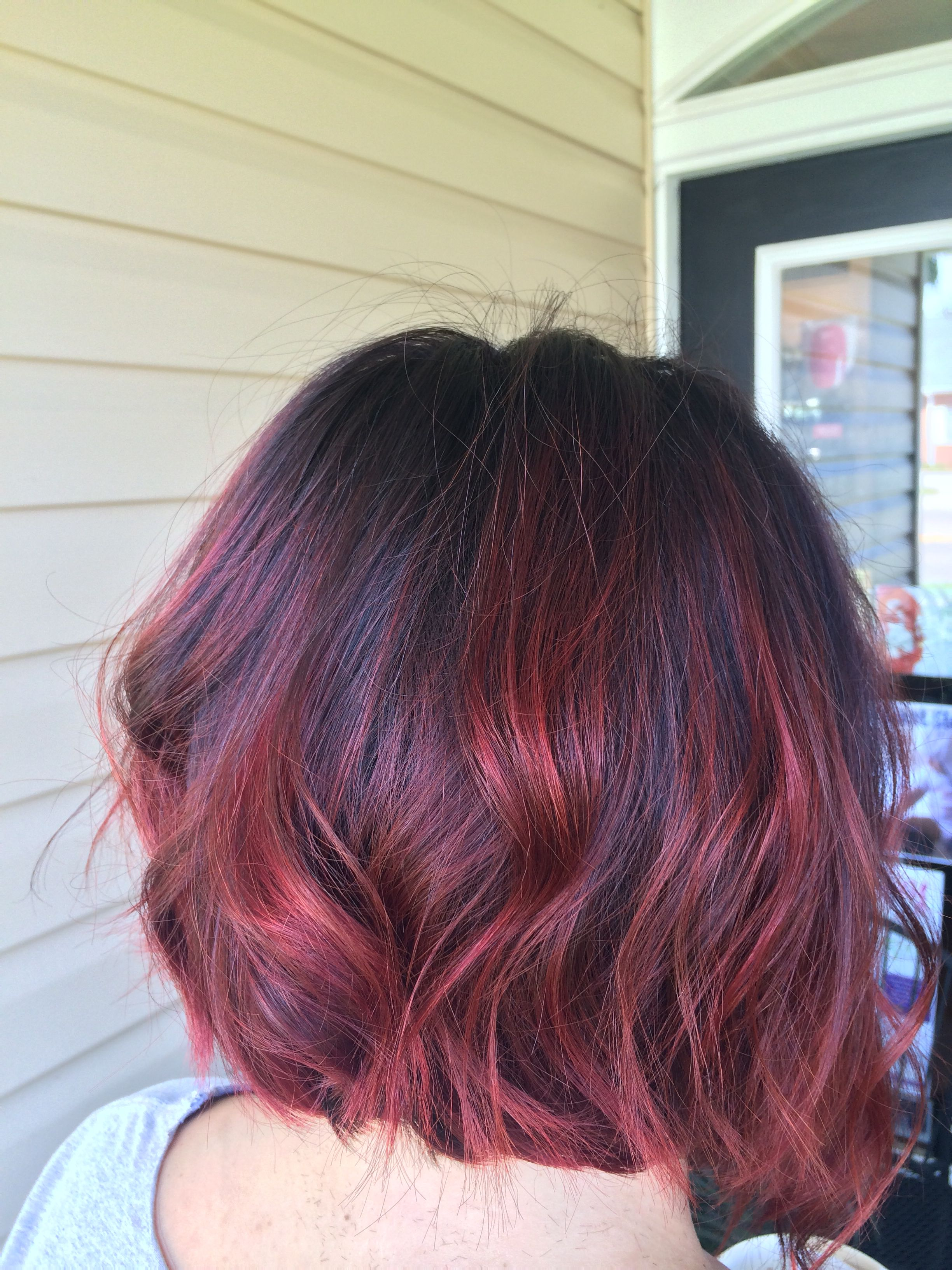 Beautiful red melt with a short sassy cut burgundy hair