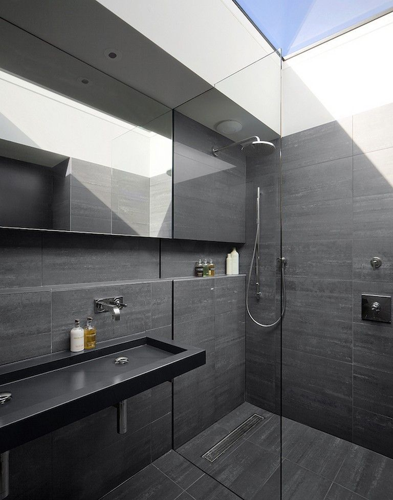 Obtain Motivated For The Renovation Of Your Tiny Washroom With These 25 Tiny Shower Room Remodels That Are Black Bathroom Modern Bathroom Black Tile Bathrooms