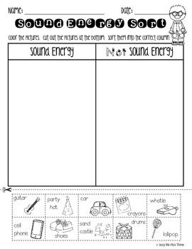 Sound Sort, Forms of Energy Worksheet {K, 1, 2} | Light and sound ...