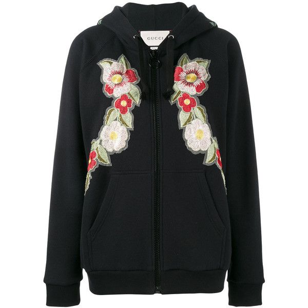 6afb9db6e34 Gucci Gucci Print rose embroidered hoodie (22.507.235 IDR) ❤ liked on  Polyvore featuring tops