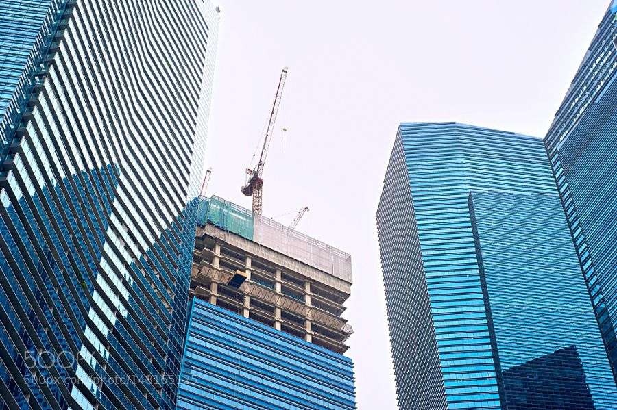 Singapore skyscrapers construction - Construction site of a modern
